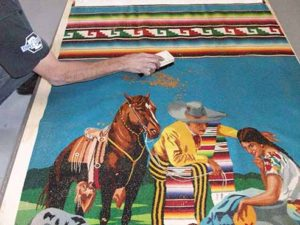Gently cleaning a rare Navajo Rug at Oriental Express Rug Washing Company