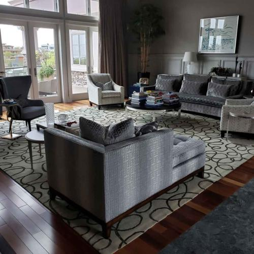 We MicroSealed this beautiful rug, sofa and chairs to protect from wine and other spills.